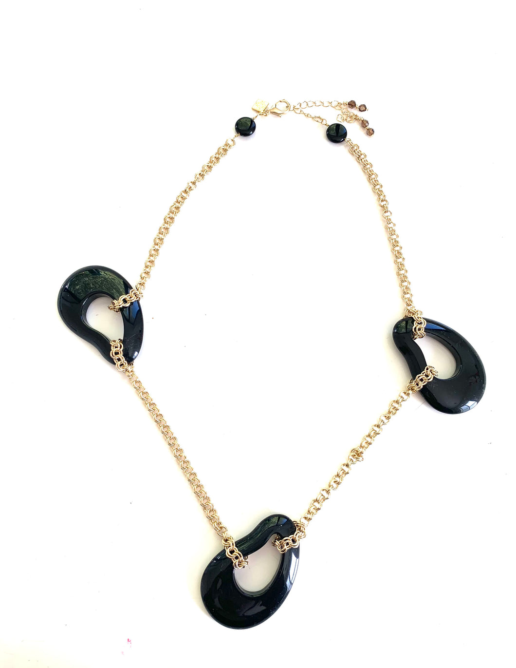 Abstract Black Resin Drops Necklace