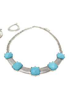 Semi-Collar Silver Toned Necklace and Earring Set