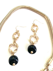 Black Onyx Pendant Statement Necklace and Earring Set