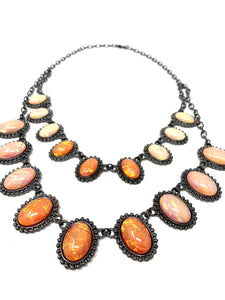 Layered Neutral and Pink Tone Stone Necklace