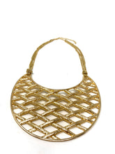 Load image into Gallery viewer, Cross Hatched Golden Bib Necklace