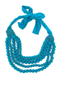 Fabric Bead Blue Necklace