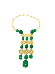 Jade Stone Coin Bib Necklace