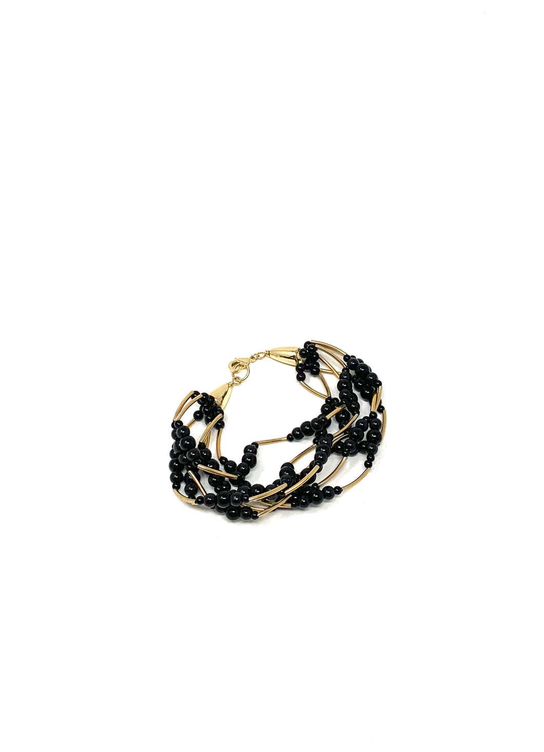 Black Beaded Layered Bracelet