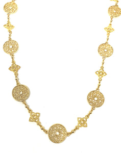 Golden Filigree Coin Necklace