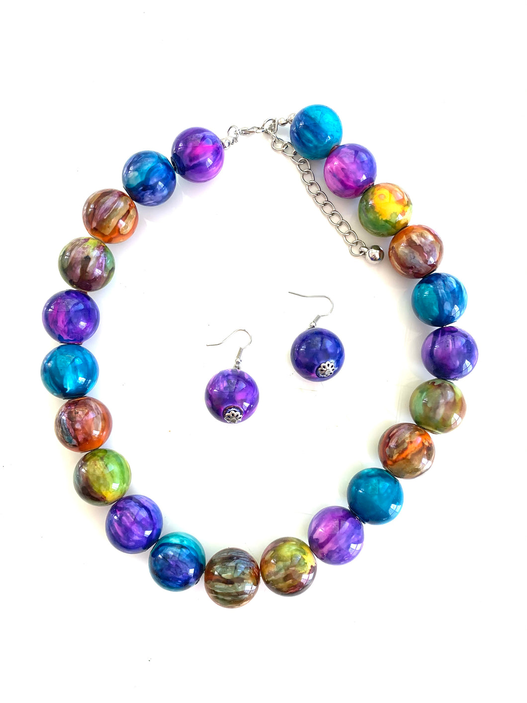 Jumbo Artsy Beaded Necklace and Earring Set