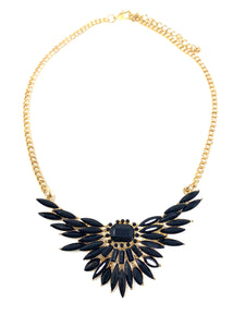 Faux Onyx Expanded Wings Necklace
