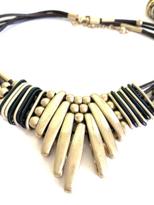 Tribal Gold Tone Necklace and Bracelet Set