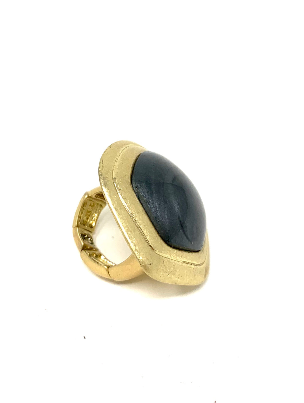 Black Stone Abstract Golden Ring