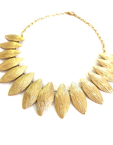 Gold Tone Oval Shaped Choker Necklace