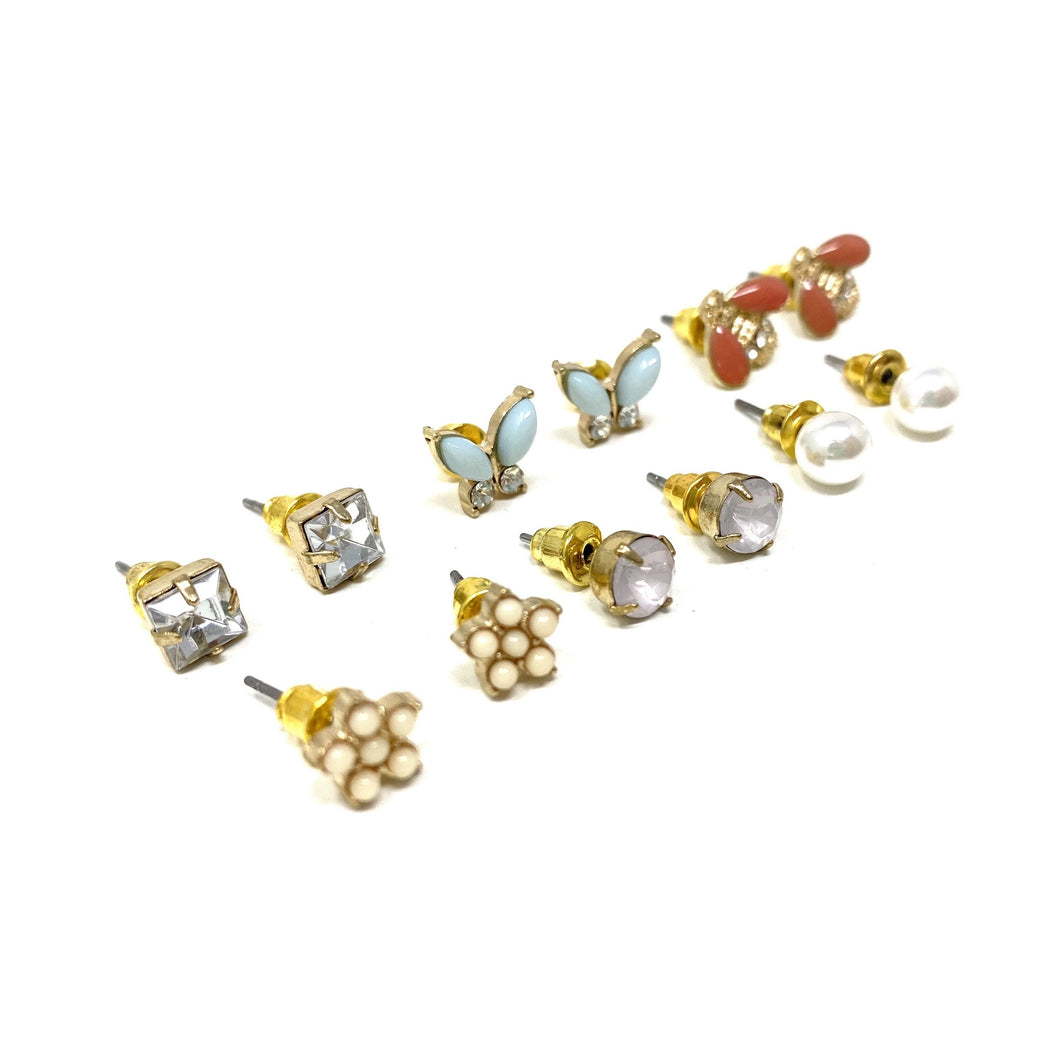 Six Piece Stud Earrings