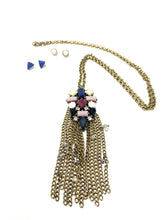 Load image into Gallery viewer, Long Crystal Tassel Necklace with Matching Earrings