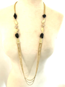 Leafy Black Onyx Long Necklace and Earring Set