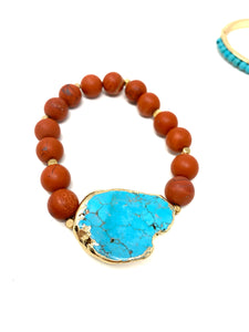 Native Clay Beads and Turquoise Bracelet Set