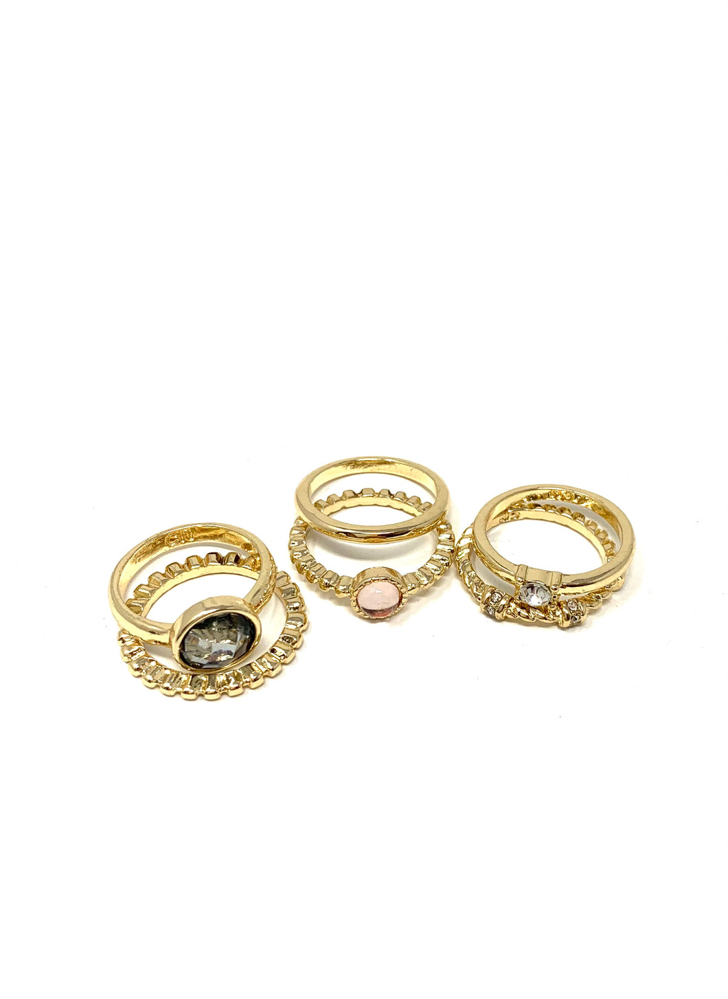 Crystal Ball Gold Tone Ring Multi Pack