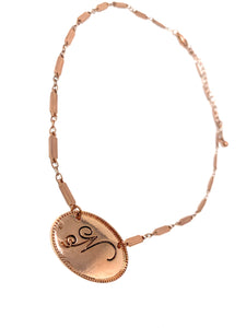 """N"" Initial Choker Copper Tone Necklace"