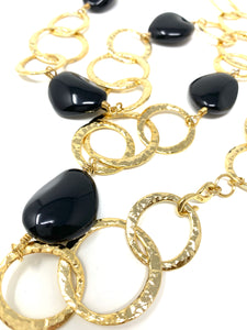 Long Chunky Chain Large Black Stone Necklace