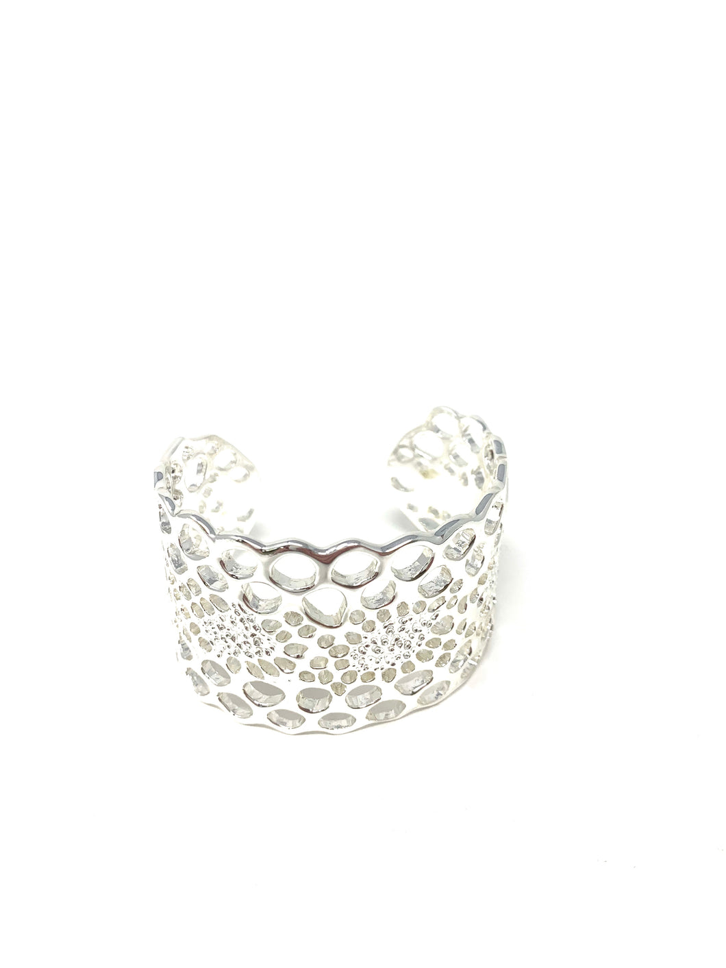 Honeycomb Cuff Silver tone Thick Bracelet
