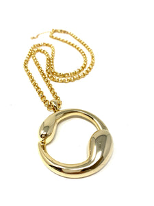 Abstract Ying Yang Gold Tone Circle Necklace