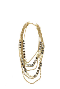 Smokey multi chain statement necklace