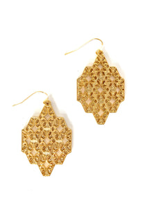 Filigree Roman Gold Tone Dangle Earrings
