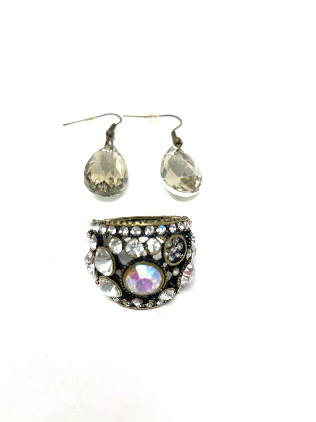 Rock Crystal Statement Ring and Earring Set