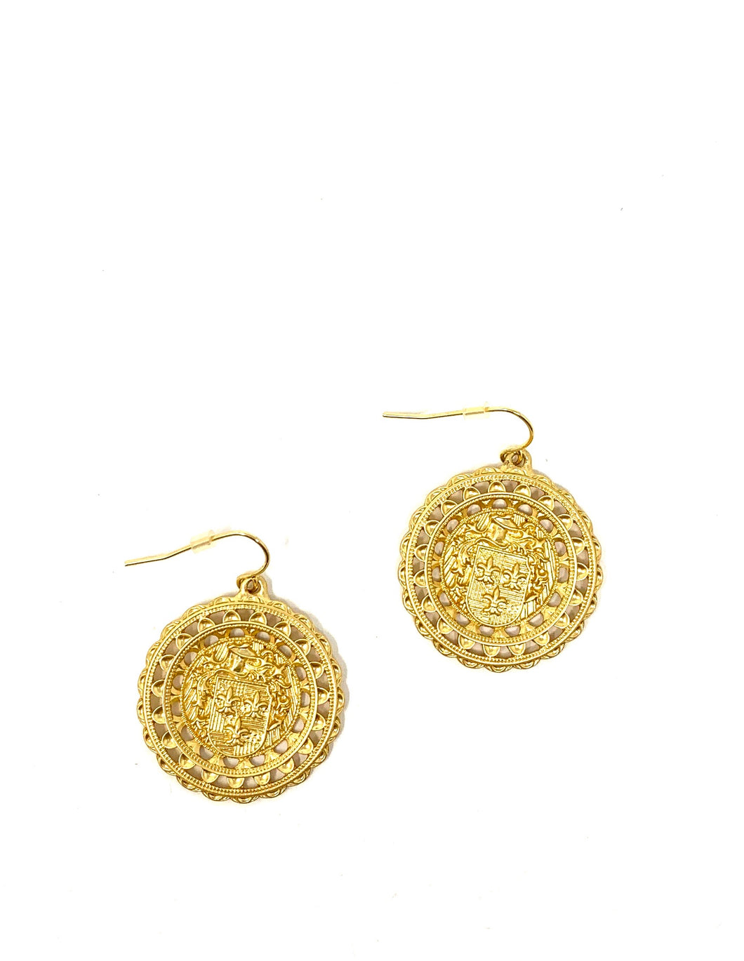 Golden Fleur De Lis Coin Drop Earrings
