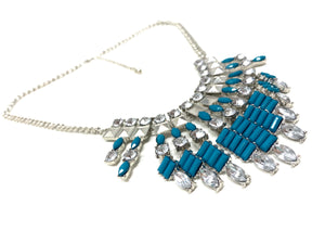 Aquamarine Art Deco Necklace and Ring Set