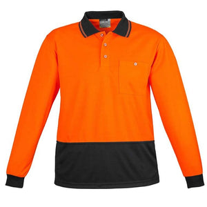 UNISEX HI VIS BASIC SPLICED POLO - LONG SLEEVE   ZH232
