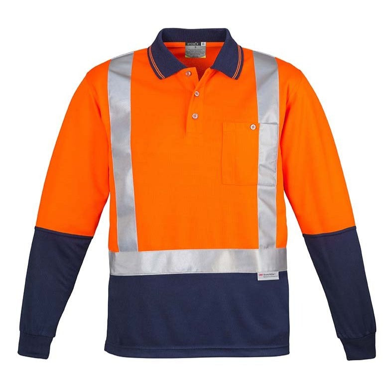 MENS HI VIS SPLICED POLO - LONG SLEEVE SHOULDER TAPED   ZH234