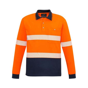 UNISEX HI VIS SEGMENTED L/S POLO - HOOP TAPED   ZH530