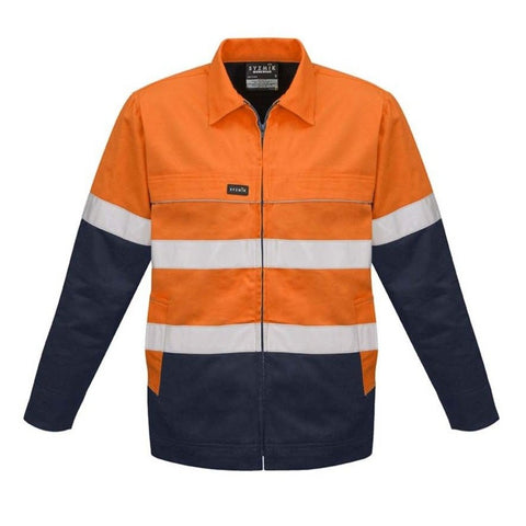 MENS HI VIS COTTON DRILL JACKET   ZJ590
