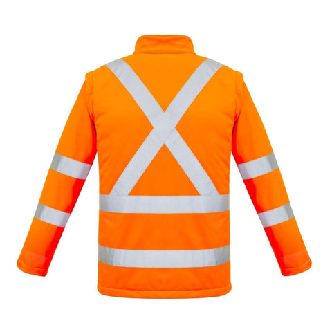 UNISEX HI VIS 2 IN 1 X BACK SOFT SHELL VEST / JACKET    ZJ680