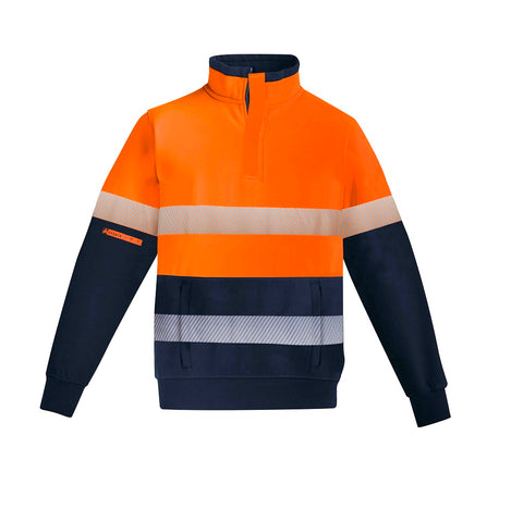 MENS ORANGE FLAME HRC 2 HOOP TAPED 1/4 ZIP BRUSHED FLEECE   ZT150