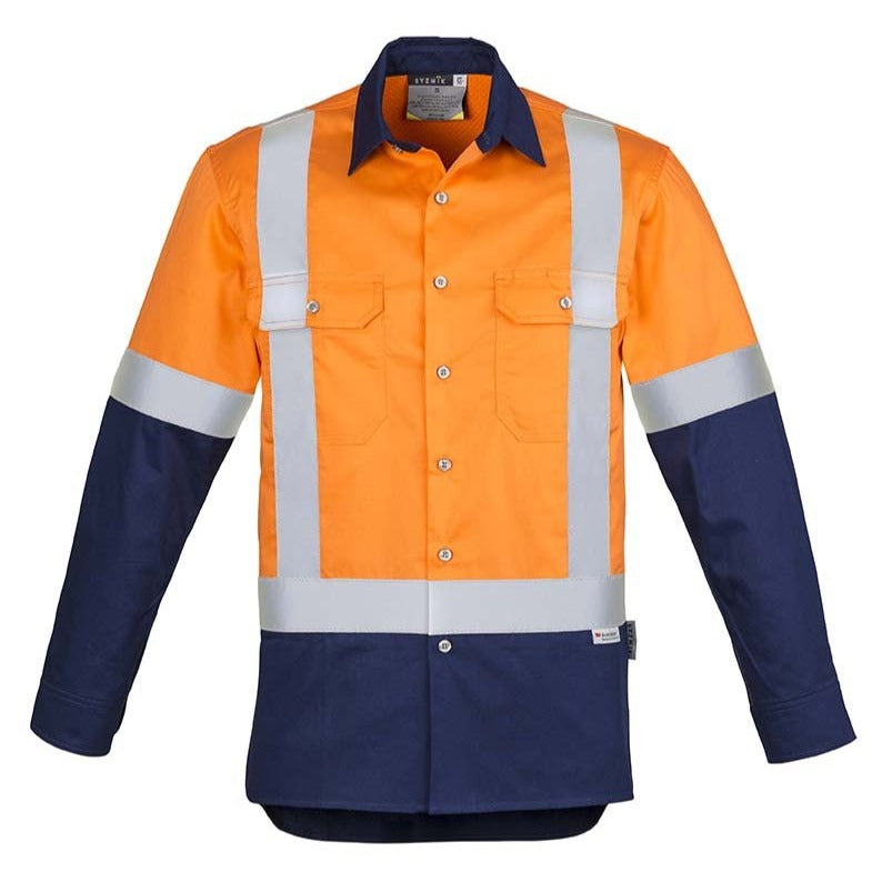 MENS HI VIS SPLICED INDUSTRIAL SHIRT - SHOULDER TAPED   ZW124