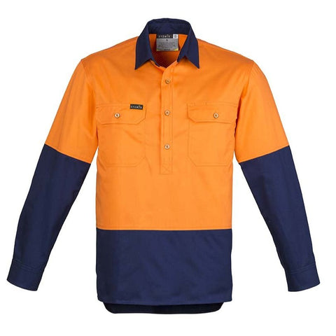 Image of MENS HI VIS CLOSED FRONT L/S SHIRT   ZW560