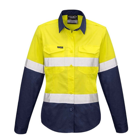 Image of WOMENS RUGGED COOLING TAPED HI VIS SPLICED SHIRT   ZW720