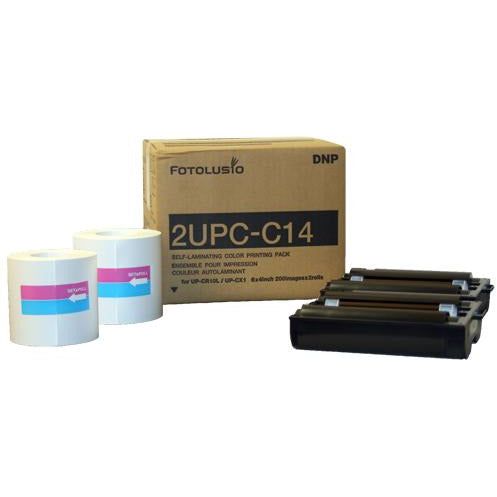 DNP Snap Lab Print Pack 2UPC-C14 for use with DNP SL10, Sony UPCR10L and Sony UPCX1.  2 Rolls x 200 4