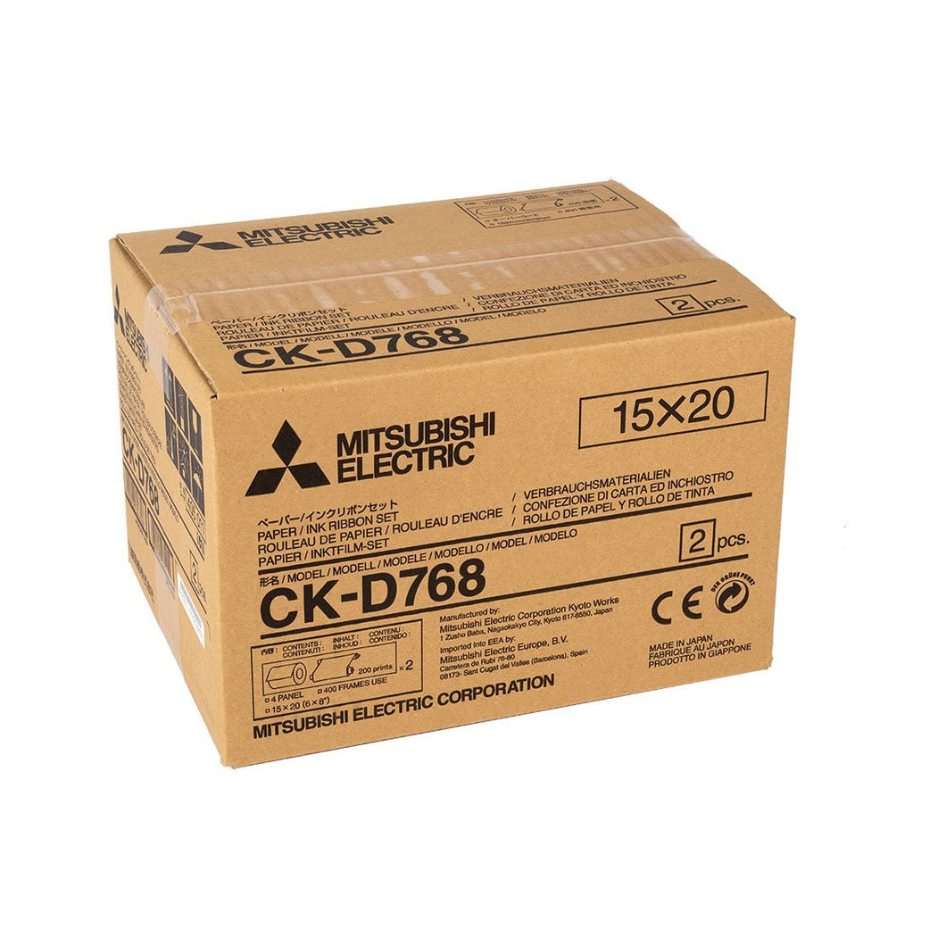 Mitsubishi CKD768 6x8 Print Kit for use with CP-D70DW, CP-D707DW and CP-D90DW Printers 6x8 print kit, 2 rolls, 400prints total