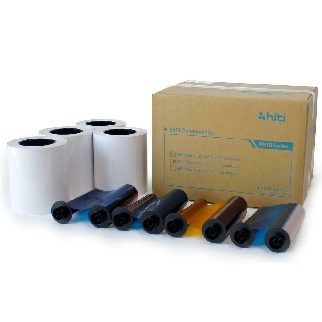 HiTi 5x7 Print Kit for use with HiTi P510 Printer 5x7 Print Kit, 4 Rolls, 760 Prints Total
