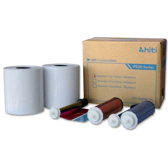 HiTi 4x6 Print Kit for use with P520L and P525L Photo Booth Printer 4x6 Print Kit, 2 Rolls, 1000 Prints Total