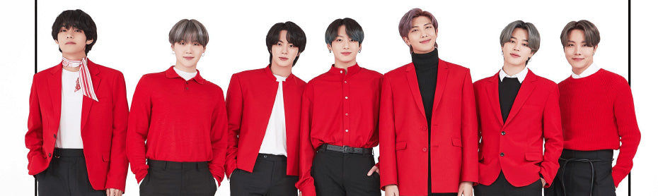bts map of the soul on:e poster bts members wearing red jackets white background