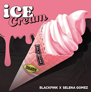 blackpink ice cream single cover / ice cream cone on a pink and black background