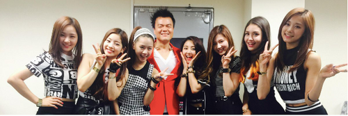 park jinyoung jyp with trainees from survival show sixteen future twice members