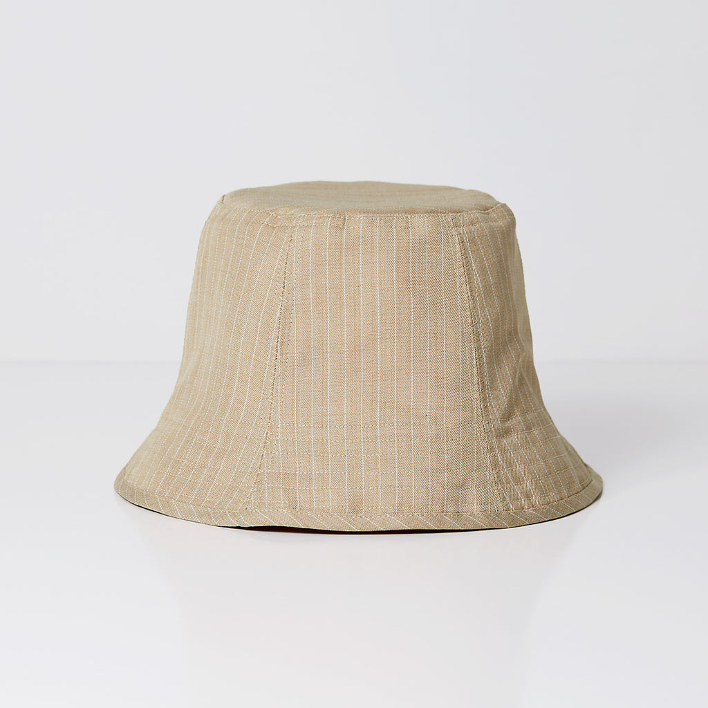 Sand Pinstripe & Blush Yellow Wool & Silk Bucket Hat