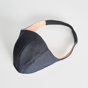 Navy Check Wool & Silk Face Mask
