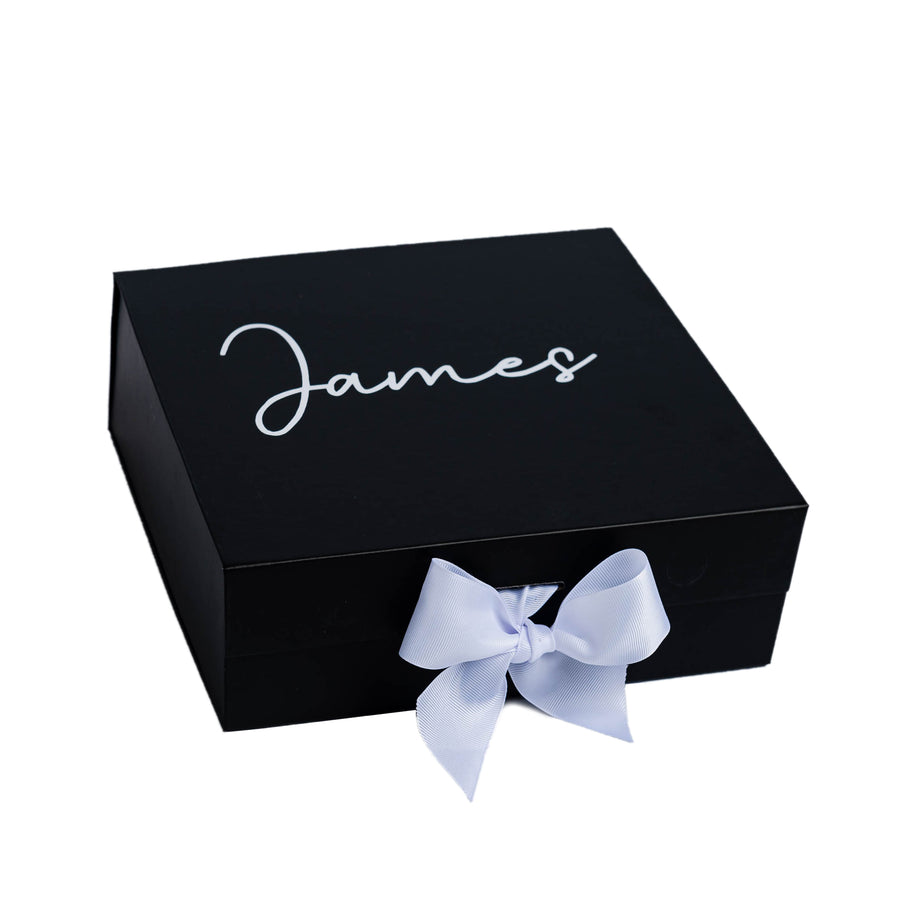 """Will you be my Groomsman?"" Black Gift Box with Name on Top 
