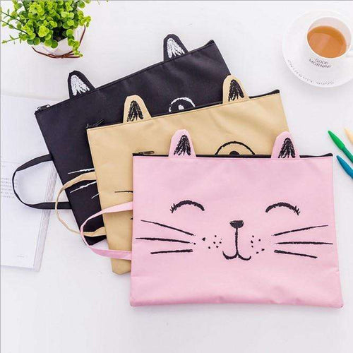 Back to School | 1PC Kitty Cat Cute Zip Fabric File Folder - That Woof Store