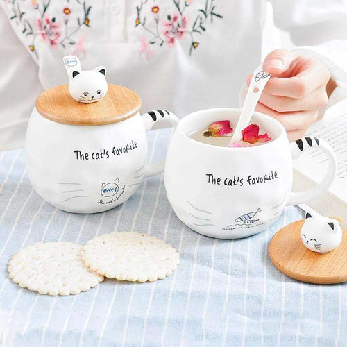 White Cat Mug With Lid and Spoon | Heat-resistant Ceramic Cup | Gifts for Cat Ladies - That Woof Store