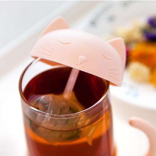 Cute Cat Glass Cup Tea Mug With Fish Infuser Strainer Filter - That Woof Store